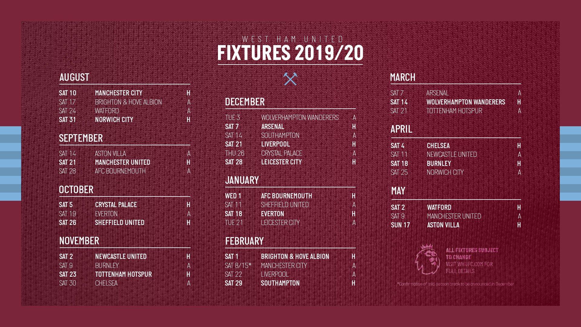 Календарь сезона 2019-20